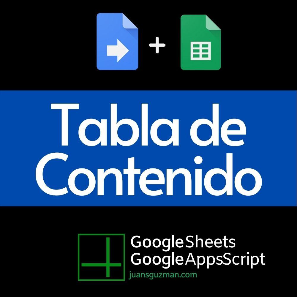 Tabla de Contenido en Google Sheets